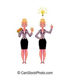 Businesswoman eats sandwich and coffee, gets an idea, business insight