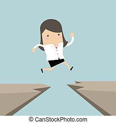 businesswoman, een, sprong, door, another., bres, klip