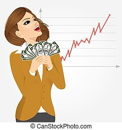 businesswoman enjoying money