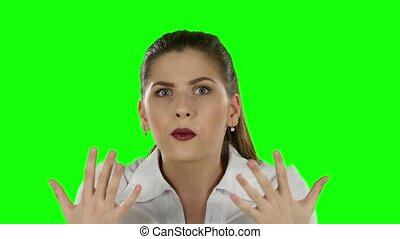 Businesswoman expressing frustration. Green screen