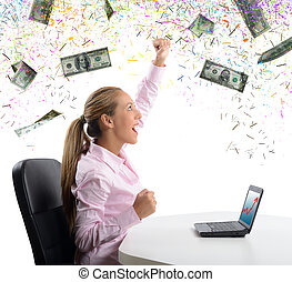 Businesswoman exults for her money