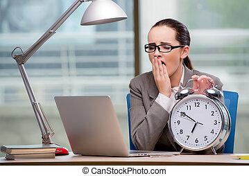 Businesswoman failing to meet challenging deadlines