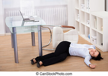 Businesswoman Fainted On Floor - Exhausted Businesswoman...