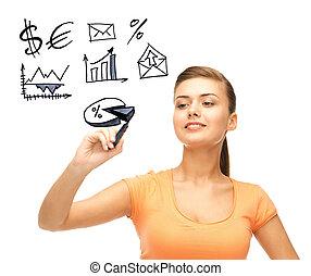 businesswoman, financieel, tekening, Tekens & Borden