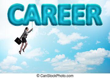 Businesswoman flying in career concept