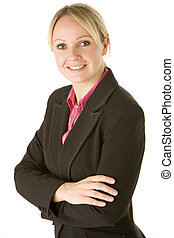 businesswoman, folde arme, hende