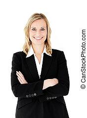 businesswoman, folde arme, kigge, kamera, smil