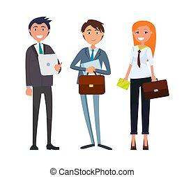 businesswoman, forretningsmand, firma, papirer