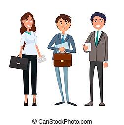 businesswoman, forretningsmand, møde, ledsagere