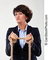 businesswoman, frauduleus, handcuffed