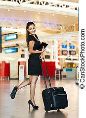 businesswoman, gaan, jonge, zakenreis