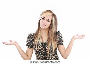 businesswoman, gebaren, verwarring, met, haar, handen