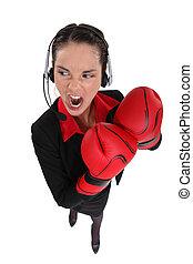 businesswoman, gereed, voor, vechten