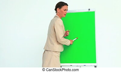 Businesswoman gesturing in front of a board
