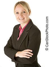 businesswoman, gevouwen wapens, haar