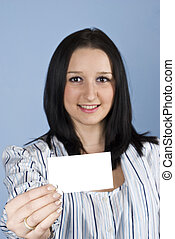 Businesswoman give a blank card