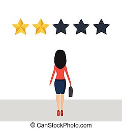 Businesswoman give a review. Evaluation concept. Feedback. Vector illustration in flat design.