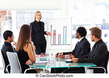 Businesswoman giving a presentation to her team