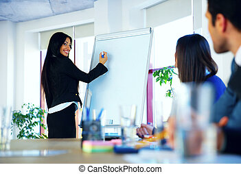 Businesswoman giving a presentation to colleagues at workplace