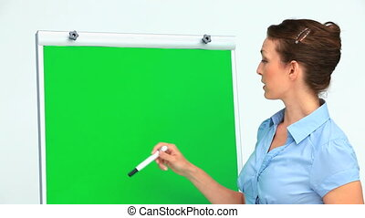 Businesswoman giving a presentation with a board