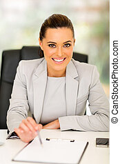 businesswoman giving contract to sign