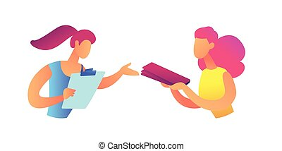 Businesswoman giving document file to coworker vector illustration.