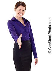 Businesswoman giving hand for handshake, isolated on white