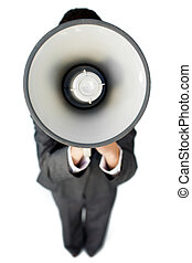 Businesswoman giving instructions with a megaphone against a white background