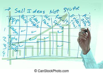 businesswoman, glas, plank, grafiek, tekening, uit