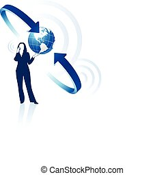 businesswoman global communication Original Vector Illustration Globes and Maps Ideal for Business Concepts