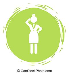 Businesswoman green cirlce portrait, stamp style, thinking businessperson, thoughtful woman avatar logo wearing office suit dress, keeping dresscode, female gesturing hand, anonymous person lady