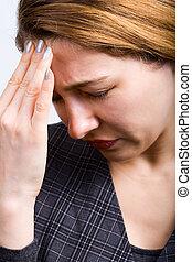businesswoman, groot, hoofdpijn