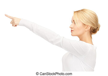 businesswoman, haar, pulken pointing