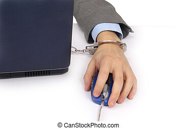 businesswoman hand on computer