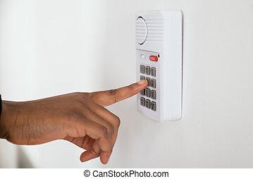 Businesswoman Hand Using Door Security System