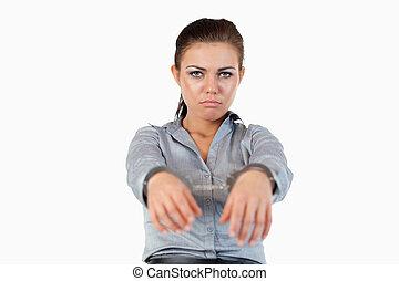 businesswoman, handcuffs, jonge