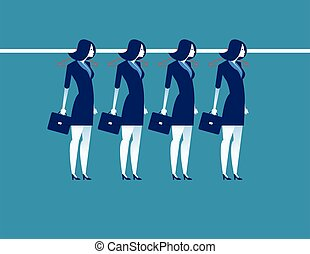 Businesswoman hanging on the line. Concept business vector illustration.