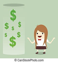businesswoman happy get money bonus from bank