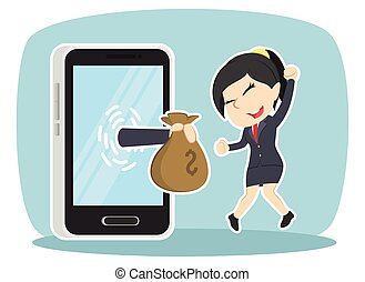 Businesswoman happy got money from smartphone