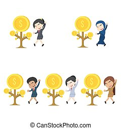 Businesswoman happy her coin tree grow different race set