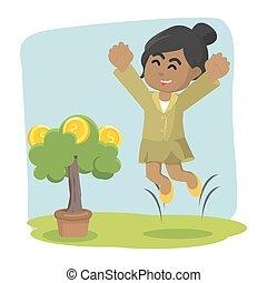 businesswoman happy her coin tree grow