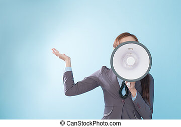 Businesswoman happy with a megaphone
