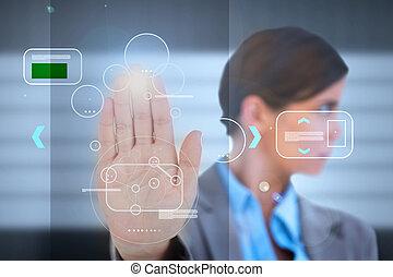 businesswoman, har, en, håndflade, tryk, identifikation