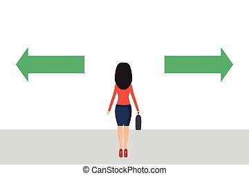 Businesswoman has to make a choice vector illustration in ...