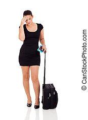 businesswoman, hebben, het reizen, hoofdpijn