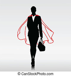 Businesswoman Hero - Businesswoman hero with red cloak