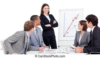businesswoman, het glimlachen, presentatie, geven