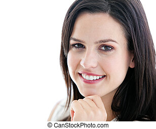 businesswoman, het glimlachen, verticaal