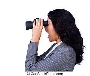 businesswoman, het kijken, verwonderd, toekomst
