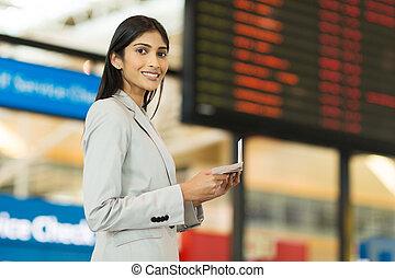 businesswoman, het reizen, indiër, jonge, lucht